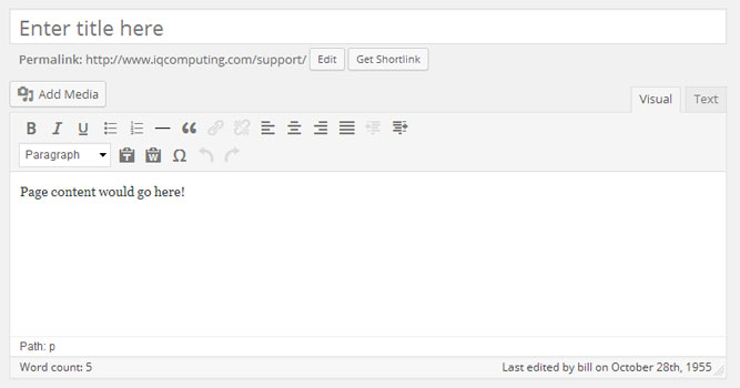 WordPress TinyMCE Page Editor