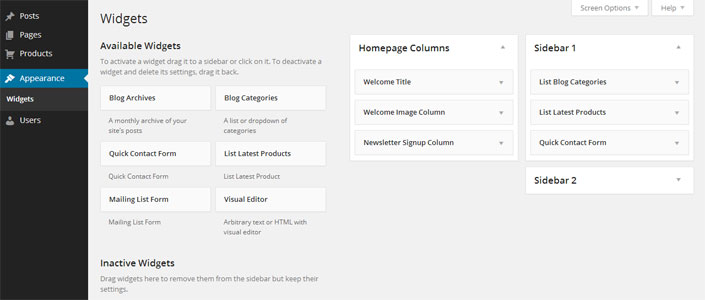 WordPress Edit Widgets page