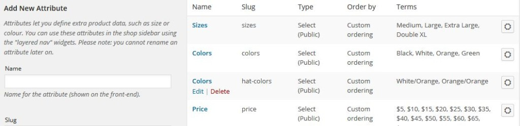 Product Attributes populated