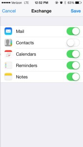 iPhone Exchange Mail Contacts Calendars Reminders Notes Enable Screen