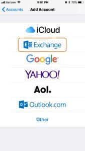iPhone ios11 Add Account Exchange Screen