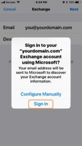 iPhone ios11 Exchange Signin Screen