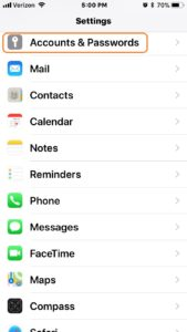iPhone ios11 Settings Screen