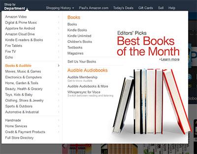 Amazon's famous website mega menus
