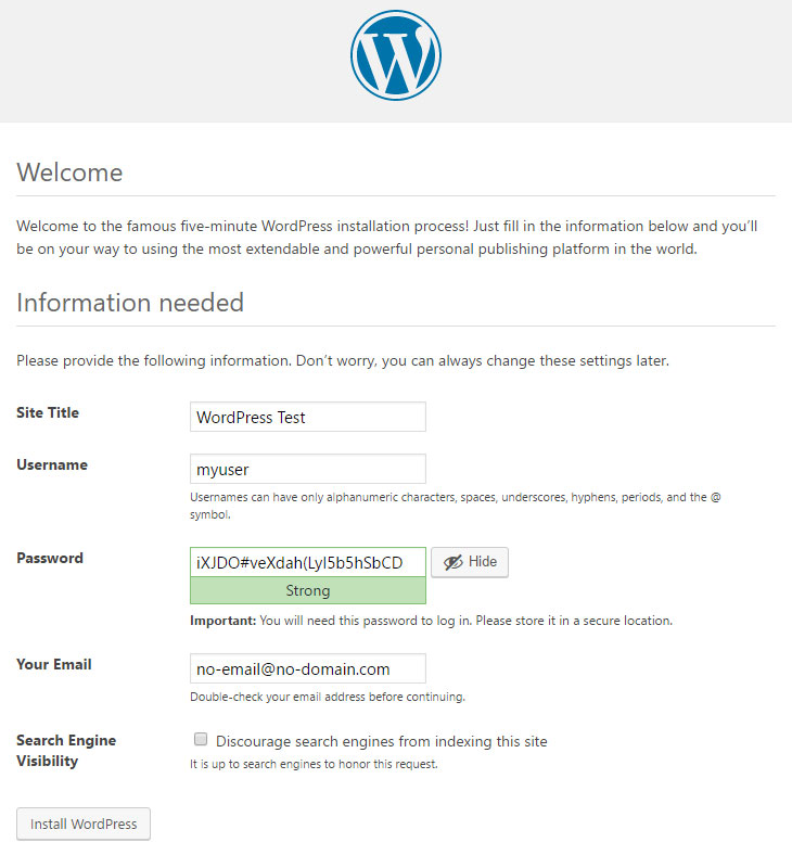 WordPress Install Final Step