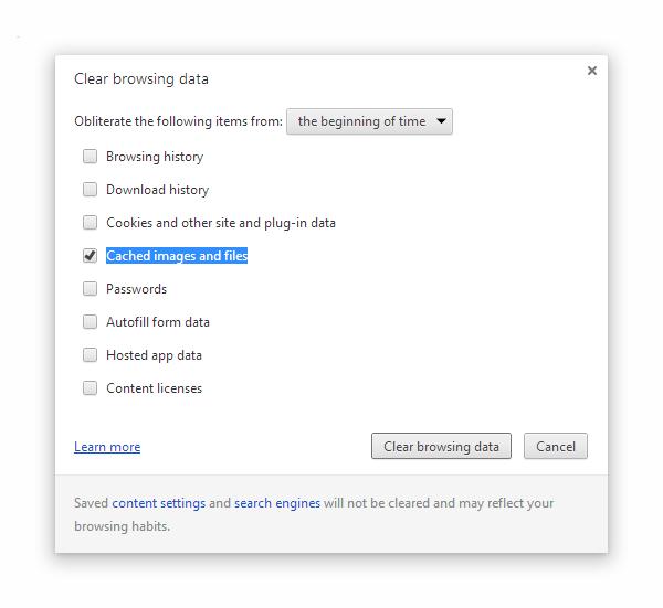 Google Chrome Browser Cache