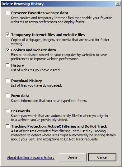 Internet Explorer Browser Cache