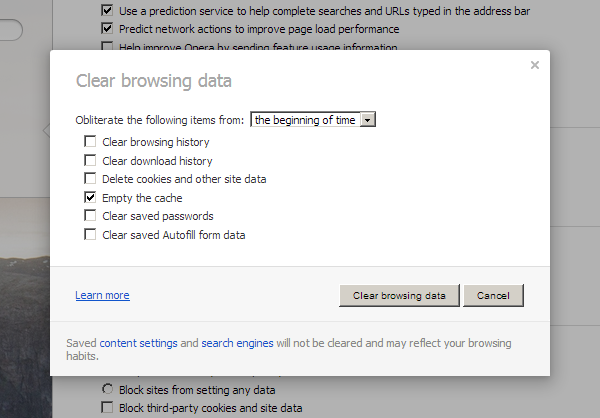 Opera Browser Cache
