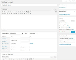 Showing the WooCommerce Add a New Product Screen