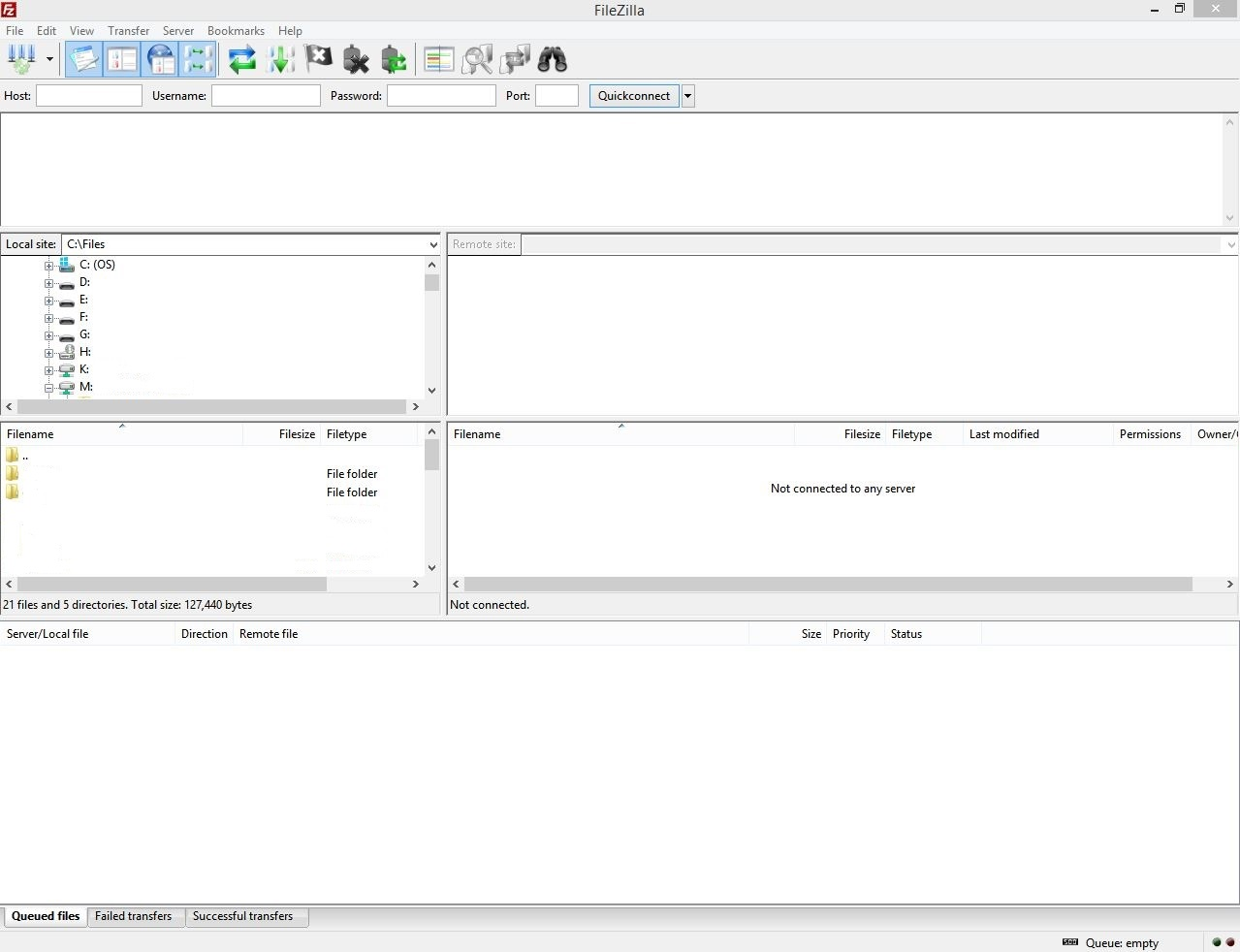 FileZilla Initial Screen