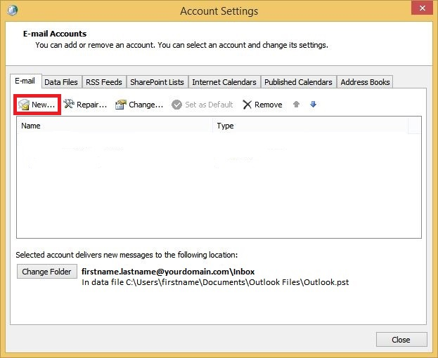 Outlook Account Settings Add New Account