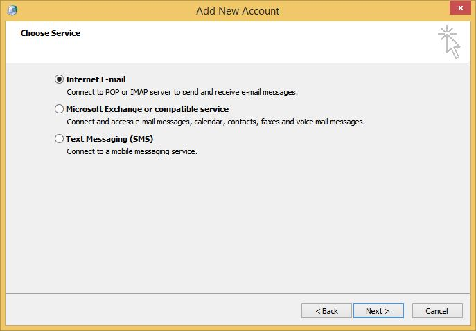 Outlook Add New Account Service Screen
