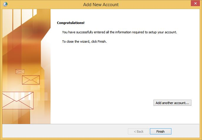 Outlook Add New Account Congratulations Screen