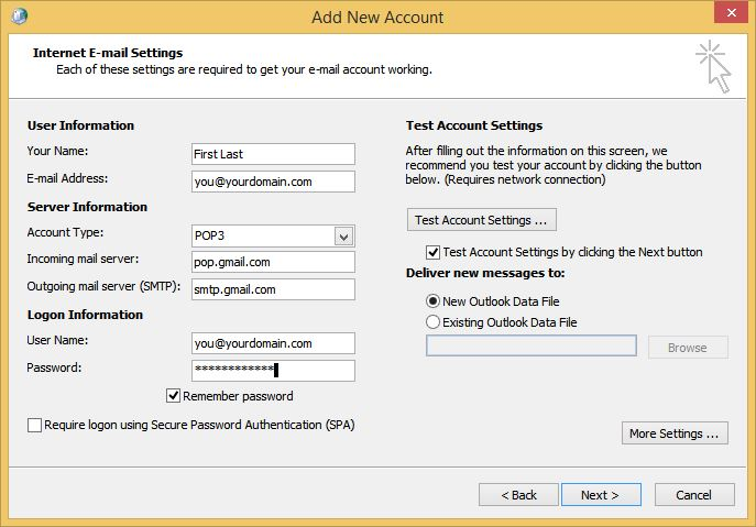 Outlook Add New Google Apps POP Account