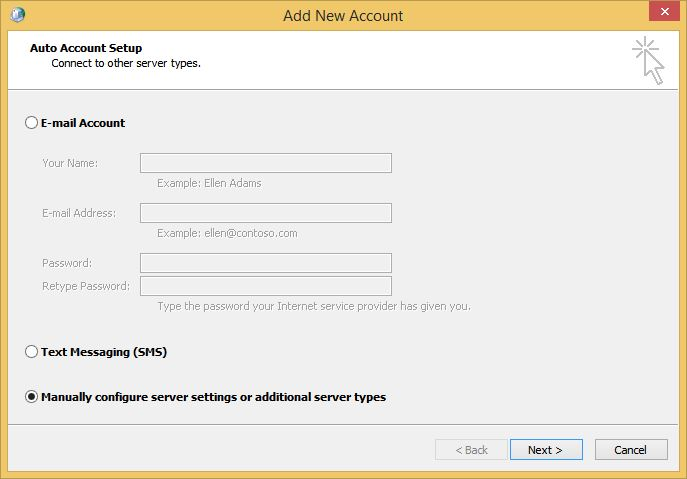Outlook Add New Account Screen