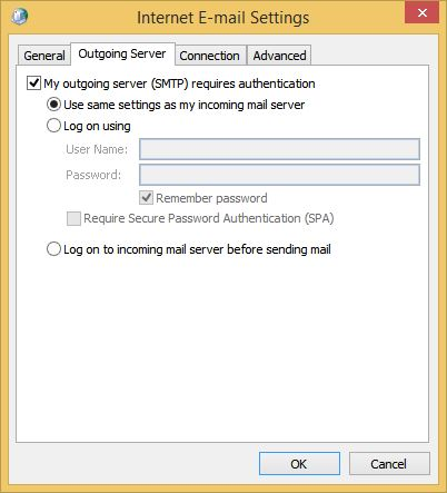 Outlook E-mail Settings Outgoing Server Tab