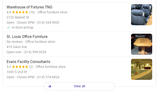 Local pack results on Google