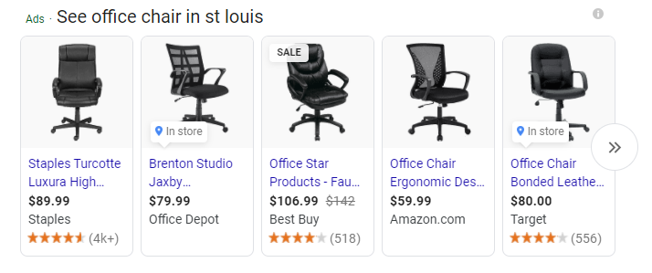 Google shopping image results