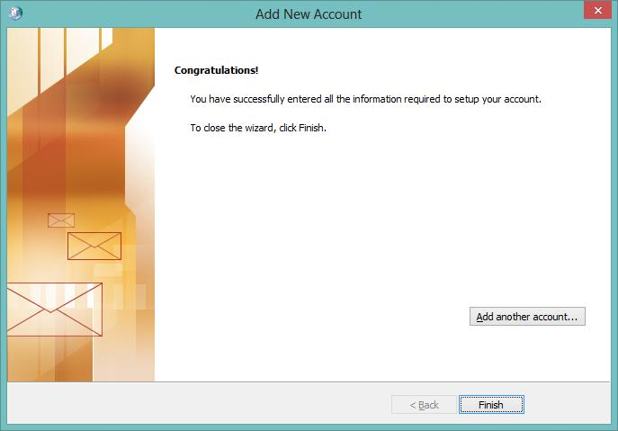 Outlook Add New Account Wizard Congratulations Message