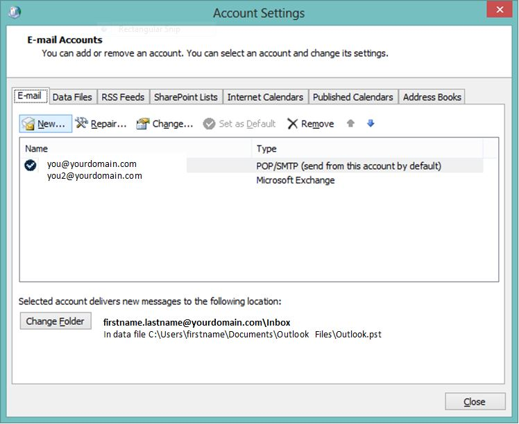 Outlook Add Account - Email Accounts Tab