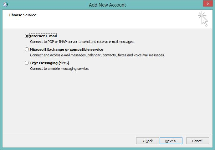 Outlook Add New Account POP3 Internet Email Radio Button