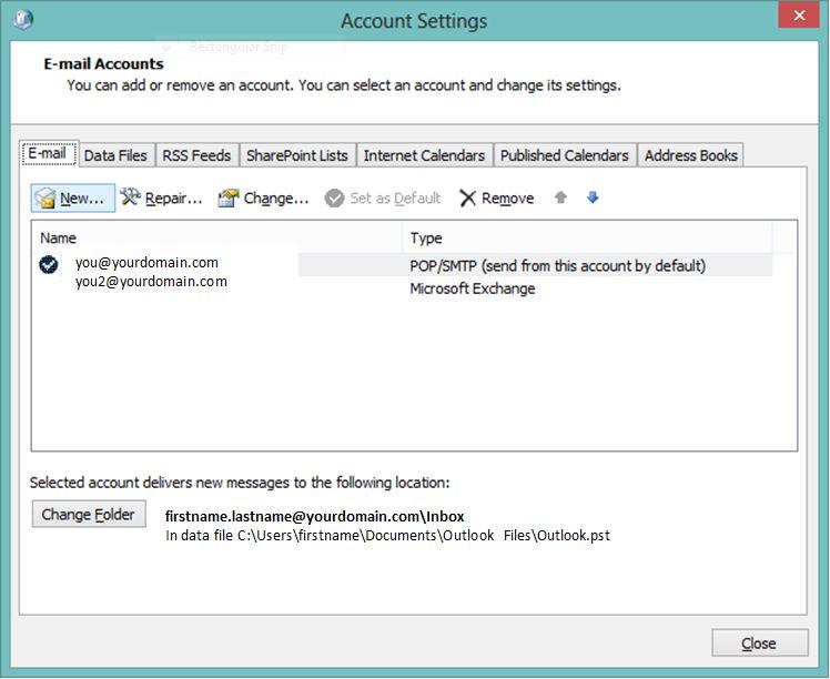 Outlook E-mail Account Settings