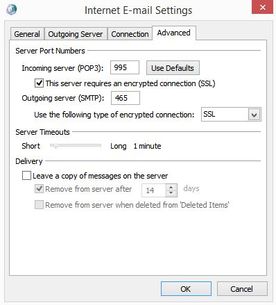 Outlook Internet Email Advanced Tab Server Port Numbers