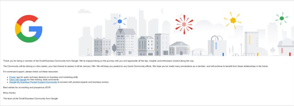 Google Closes Small Business Community Email Announcement