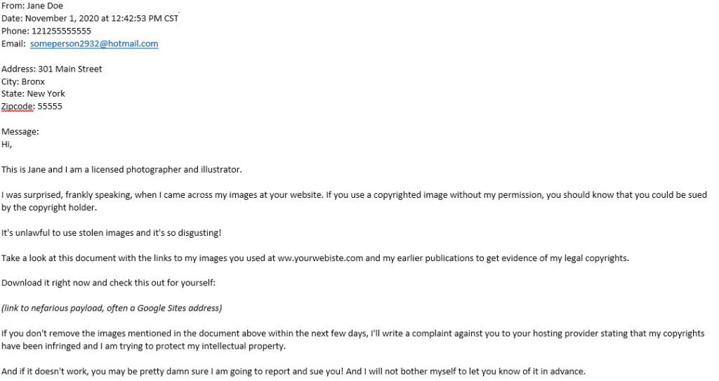 Form spam example