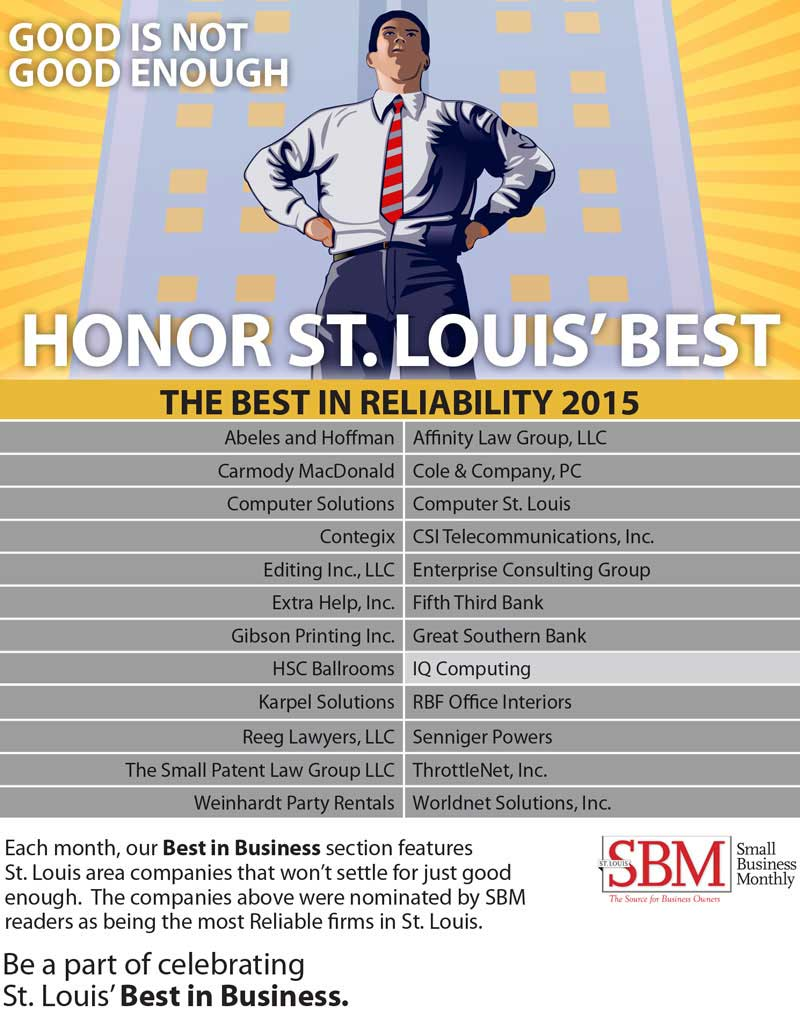 St. Louis Small Business Monthly (SBM) - 2015 Best in Reliability