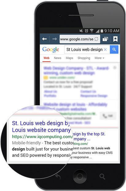 Mobile-friendly website SEO results in Google