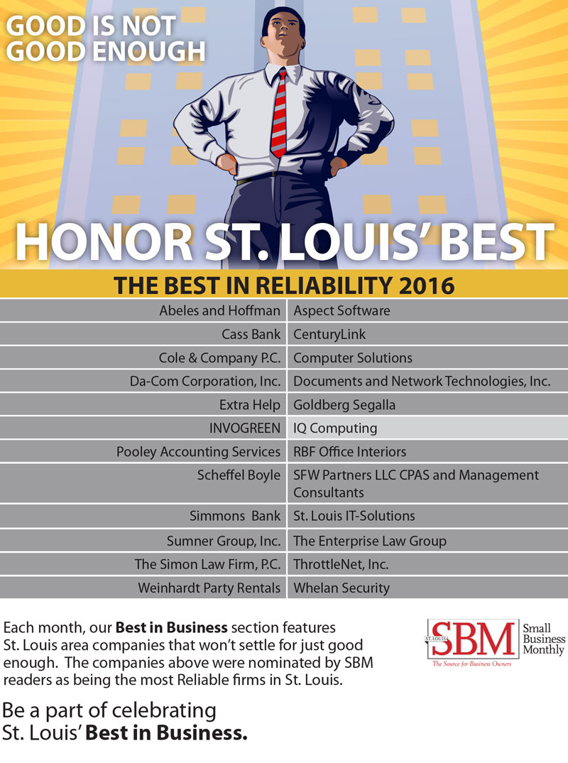 St. Louis Small Business Monthly (SBM) - 2016 Best in Reliability